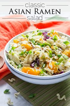 This Classic Asian Ramen Salad is a simple and addictive salad that you can bring to any gathering and people will be begging you for the recipe. With a simple sweet and tangy dressing, these tasty. Asian Ramen Noodle Salad, Ramen Noodles, Healthy Salads, Healthy Recipes, Yummy Recipes, Healthy Food, Recipies, Yummy Food, Asian Recipes