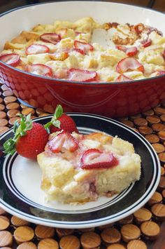 Strawberries and Cream French Toast Casserole. Would be cute to include some blueberries for Fourth of July! And also just for yum. Would work with pretty much any fruit.