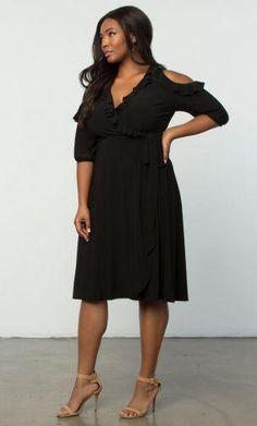 b7e7a78408d Kiyonna Barcelona Wrap Cold Shoulder Plus size  Curvy Dress