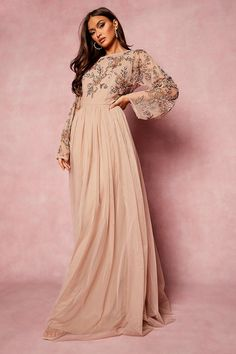 Bridesmaid Hand Embellished Long Sleeve Maxi Dress | boohoo Long Sleeve Maxi, Maxi Dress With Sleeves, Maxis, Two Piece Bridesmaid Dresses, Vestidos Color Rosa, Frocks And Gowns, Blush Dresses, Bodycon Fashion, Models