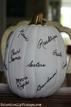 Make a Thanksgiving Thankful Pumpkin - start a new tradition the whole family will love!  eclecticallyvintage.com