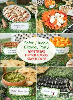 Safari / Jungle Themed First Birthday Party Part II – Appetizers, Finger Foods. Safari / Jungle Th Jungle Theme Parties, Jungle Theme Birthday, Lion King Birthday, Safari Theme Party, Wild One Birthday Party, Safari Birthday Party, Animal Birthday, Boy Birthday Parties, Jungle Theme Food
