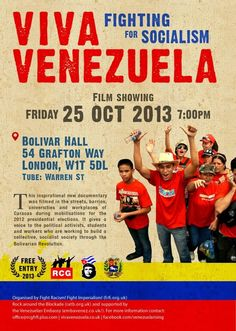 In October 2012 Venezuela faced a choice: whether to deepen the Bolivarian Revolution that under the leadership of Hugo Chavez had brought dignity. Read more & #Watch #Viva Venezuela Fighting for Socialism (2013) online at: http://www.justclicktowatch.to/documentary/viva-venezuela-fighting-for-socialism-2013/
