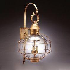 Northeast Lantern 3 Light Round Onion Caged Outdoor Sconce