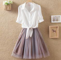 Korea fashion shirt skirt two-piece outfit