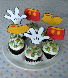 Mickey Mouse Clubhouse accessories Cupcake toppers set of 12 Fiesta Mickey Mouse, Mickey Mouse Baby Shower, Mickey Mouse Clubhouse Party, Mickey Party, Mickey Mouse And Friends, Mickey Mouse Birthday, Cupcake Toppers, Cupcake Cakes, Table Toppers