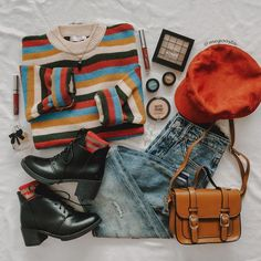 Indie Outfits, Teen Fashion Outfits, Retro Outfits, Cute Casual Outfits, Cute Fashion, Vintage Outfits, Aesthetic Grunge Outfit, Aesthetic Clothes, Estilo Cool