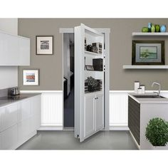 Add elegance and function to your doorway using The Murphy Door Assembled White Flush Mount Bookcase Door Solid Core MDF Single Prehung Interior Door. Murphy Door, Hidden Spaces, Hidden Rooms In Houses, Hidden Doors In Walls, Tiny Houses, Small Spaces, Bookcase Door, Safe Room, Basement Remodeling