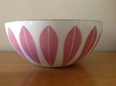 Rare CathrineHolm Pink Lotus Enamel Bowl 9.5 by TheWelcomeTable