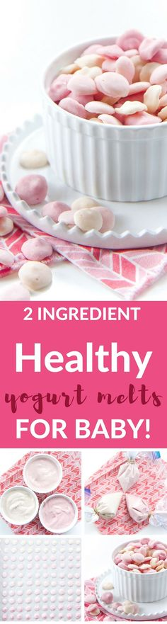 These Healthy Yogurt Melts are great for baby (and toddler) as a cold refreshing treat, as a gumming tool to help ease the pain of teething or for a quick yummy snack! Bonus, that each melt is loaded with protein, probiotics and essential vi Baby Snacks, Toddler Snacks, Baby Led Weaning, Kos, Baby Food Recipes, Snack Recipes, Toddler Recipes, Yogurt Melts, Yogurt Bites
