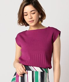ESTNATION ノースリーブプルオーバー Knit Fashion, Womens Fashion, Summer Knitting, Blushes, Ribbed Top, Knitting Designs, Knitwear, Crochet, Sweaters