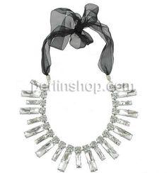 Kristall Zinklegierung Halskette, mit Satinband & Zinklegierung