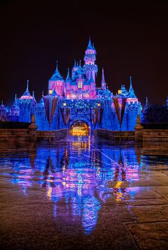 """Reflections of a Winter Fantasy"" Sleeping Beauty Castle at from Michaela Hansen at at www. Disneyland California, Disneyland Resort, Disneyland Photos, Anaheim California, Vintage Disneyland, Disney Love, Disney Magic, Disney Stuff, Disney Nerd"