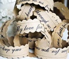 Scripture paper-chains~Inexpensive & made with love gift 4 the new couple's 1st XMAS TREE~maybe White+Silver or White+Green? Maybe a wish or a word of Advice from each guest ~ have the materials at the 'Favor or Cake Table' - trade your 'written chain' for a piece of wedding cake or your take home favor (  :