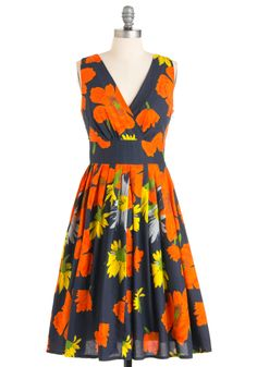 Glamour Power to You Dress in Garden - Orange, Yellow, Floral, A-line, Sleeveless, Multi, Blue, Long, Fit & Flare