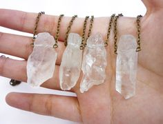 Large raw crystal quartz chunk point Necklace