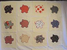 Lot-of-40-Piggy-Quilt-Blocks-on-10-X-10-Muslin-Block-Great-Vintage-Material