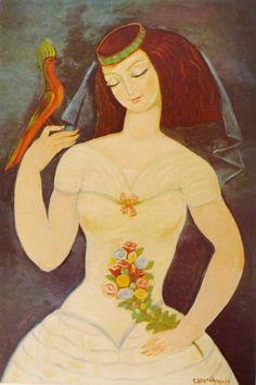 """""""ანანო ყვავილეთან"""", ლადო გუდიაშვილი - Lado Gudiashvili, 1974"""