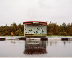 """Painted bus stop in Belarus - photo by Alexandra Soldatova for her """"It Must Be Beautiful"""" series, via hyperallergic"""