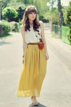 画像 : 楽チンなのに可愛い!夏の「マキシスカート」