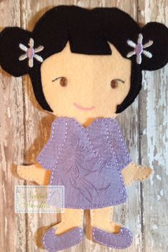 Oriental Dress for Felt Girl Doll by NettiesNeedlesToo on Etsy, $8.00