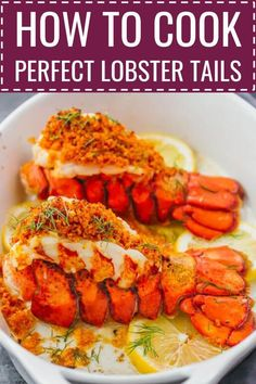 lobster tail Learn how to cook lobster tails with lemon garlic butter and a parmesan bread crumb topping via broiling in the oven. broil lobster tails, steamed, pastry, how to boil, baked Lobster Tail Oven, Baked Lobster Tails, Broiled Lobster Tails Recipe, Grilled Lobster, Oven Baked Lobster Tail Recipe, Lobster Dishes, Lobster Recipes, Seafood Recipes, Recipes