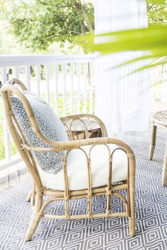 Rattan Armchair With DecoratorsBest Outdoor Throw Pillow, Blue Porch  Makeover On Thou Swell @thouswellblog