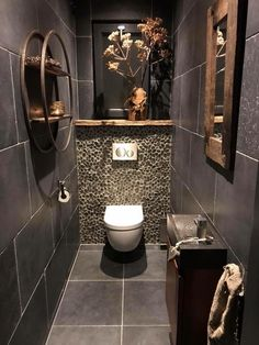 Toilet Room Decor, Small Toilet Room, Guest Toilet, Downstairs Toilet, Bathroom Design Luxury, Bathroom Design Small, Bathroom Layout, Bathroom Ideas, Wc Decoration