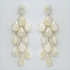 Erin Cole Mother of Pearl bridal chandelier earrings. Unique wedding earrings that are perfect for a destination or beach wedding.  Find it at Perfect Details.