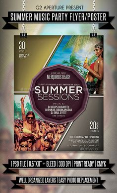 Summer Music Party Flyer / Poster Template PSD. Download here: https://graphicriver.net/item/summer-music-party-flyer-poster/17251262?ref=ksioks