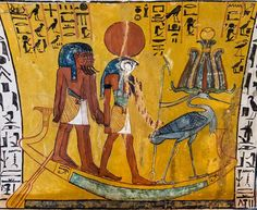 Scene from the House of Eternity of Sennedjem, during the reign of Sethi I and Ramses II: The God Ra-Harakhty-Atum (falcon-headed, wearing the Solar disk and holding the 'Uas'-scepter) standing in His sacred barque, followed by five Gods called the Gods of the Great Ennead Who are in the sacred barque of Ra.. On the prow, the 'Benu'-bird, the sacred phoenix of Ra, wearing the 'Atef'-Crown with ram's horns