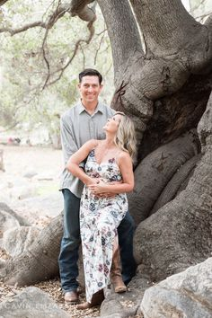 Engagement Photography Session in San Diego in front of a cool tree, Cavin Elizabeth Photography