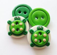 Turtle/tartaruga polymer clay buttons