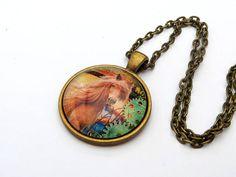 Halskette mit braunem Pferd Pony im Steampunk Stil Zahnräder