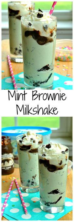 Layers of brownie, ice cream, hot fudge, and whipped cream combine to make this Mint Brownie Milkshake a decadent treat!