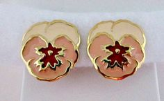 Pansy Clip On Earrings  Vintage 1990 Avon Full by vintagejunque