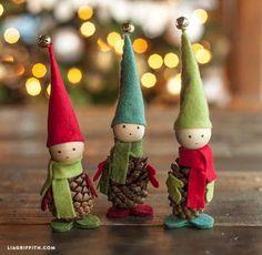 Tutoriales y DIYs: Duendes de navidad con piñas y fieltro