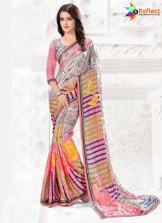 BOLD PINK GEORGETTE CASUAL PRINTED SAREE