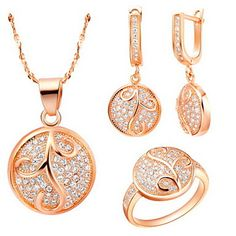 Delicate Silver-Plated Cubic Zirconia Grass Round Women's Jewelry Set(Necklace,Earrings,Ring)(Gold,Silver)