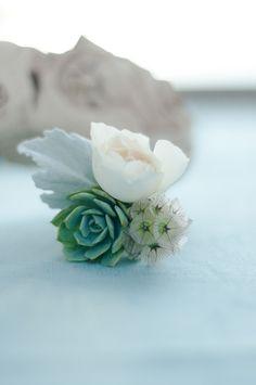 boutonniere from an aqua seaside wedding - La Jolla Beach Wedding