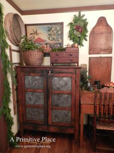 Pie Safe ~ A Primitive Place ~ Primitive & Colonial Inpired Living Rooms by alison Primitive Living Room, Primitive Homes, Primitive Kitchen, Primitive Furniture, Primitive Antiques, Country Furniture, Country Primitive, Primitive Decor, Antique Furniture