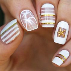 white-nails-designs-squoval-line-pattern