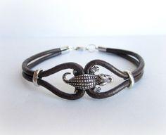 Bracciale+da+uomo+coccodrillo+e+pelle+di+BRAVE+men's+jewelry+su+DaWanda.com