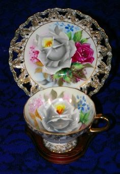 Vintage Reticulated Footed Tea Cup & Saucer Hand Painted White Pink Rose w Gold Trim