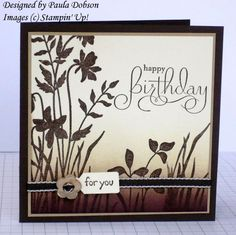 handmade birthday card ... monochromatic browns ... brayered background ... silhouette stamping on top ... Stampin' Up!