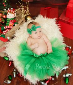 Emerald Green Christmas Baby Tutu Skirt - Princess Bowtique