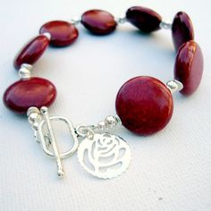 Red Bracelet Red Jewelry Sterling Silver by jewelrybycarmal, $45.00