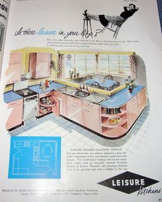 Vintage Chic: Fantasy Kitchens of the 1950s- This is an interesting layout, I think I like it.