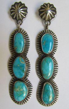 Native American Navajo .925 Kingman Turquoise Earrings Signed Darrell Cadman $251.99