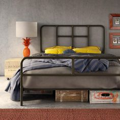 AMISCO - Franklin Bed (12395) - Furniture - Bedroom - Industrial collection - Contemporary - Regular footboard bed